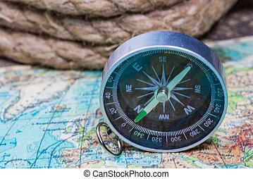 carte, compas, mondiale