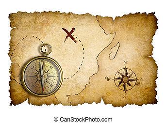 carte, compas, trésor, pirates, isolé