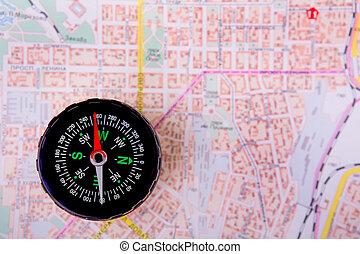 carte, compas, ville