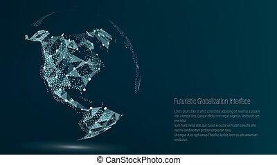 carte, composition, nord, illustration., mondiale, représenter, global, point., connexion, international, america., vecteur, numérique, meaning., earth., futuriste, réseau