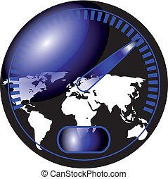 carte, compteur vitesse, mondiale