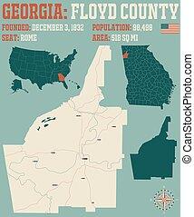carte, comté, géorgie, floyd