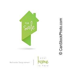 carte, concept, épingle, maison, signe vente