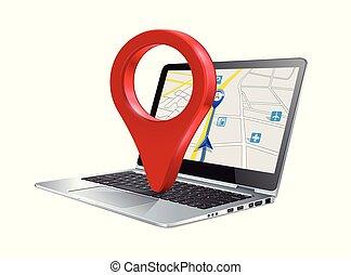 carte, concept, épingle, ordinateur pc portable, marqueur
