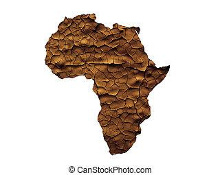 carte, concept, afrique, isolé, anhydre, sécheresse, ou