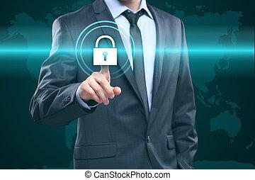 carte, concept, homme affaires, bouton, -, virtuel, business, urgent, internet, mondiale, technologie, screens.