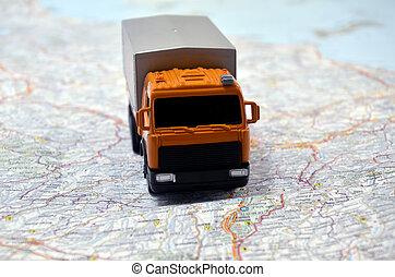 carte, concept, italie, voiture, jouet, petit, blanc