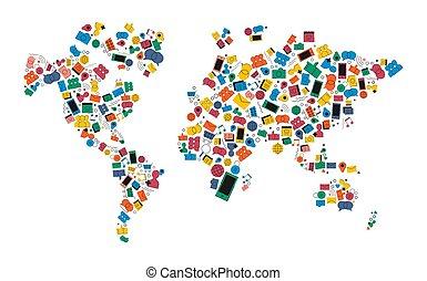 carte, concept, réseau, média, forme, social, mondiale, icône