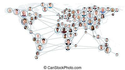 carte, concept, réseau, mondiale, communication