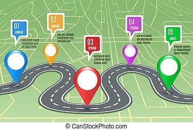 carte, concept, route