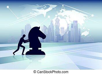 carte, concept, silhouette, business, figure, sur, pousser, idée, stratégie, cess, fond, nouveau monde, homme