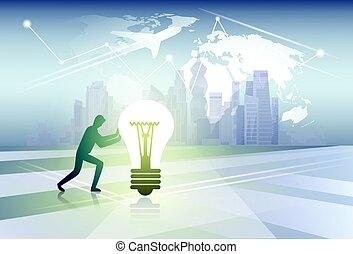 carte, concept, silhouette, business, lumière, sur, pousser, idée, fond, nouveau monde, ampoule, homme