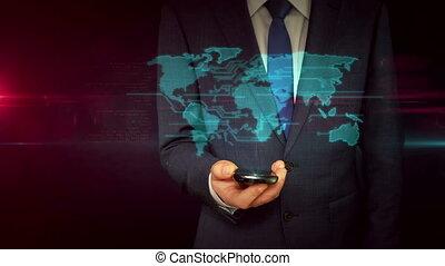 carte, concept, smartphone, mondiale, homme affaires, hologramme