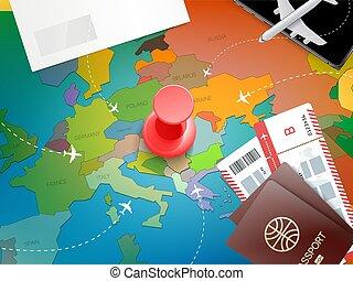 carte, concept, vacances, épingle, rouges