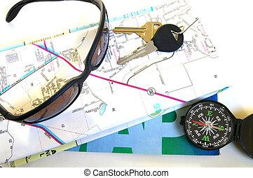 carte, concept, voyage, -, clés, etc, compas
