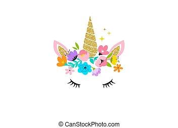 carte, -, conception, fleurs, tête, chemise, licorne