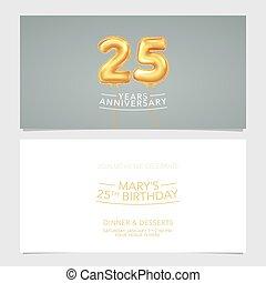 carte, conception, illustration., vecteur, pris parti, 25, années, double, invitation, gabarit, graphique, anniversaire