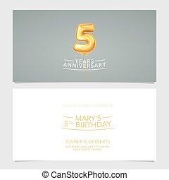 carte, conception, illustration., vecteur, pris parti, 5, années, double, invitation, gabarit, graphique, anniversaire