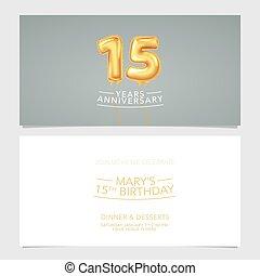 carte, conception, illustration., vecteur, pris parti, années, double, invitation, 15, gabarit, graphique, anniversaire