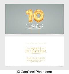 carte, conception, illustration., vecteur, pris parti, années, double, invitation, gabarit, 10, graphique, anniversaire
