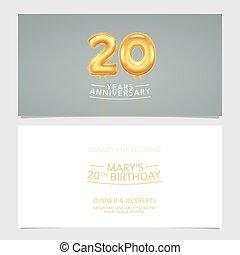 carte, conception, illustration., vecteur, pris parti, anniversaire, 20, double, invitation, gabarit, graphique, années