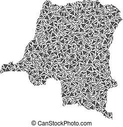carte, congo, république, triangles, démocratique