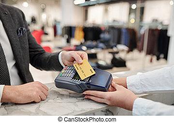 carte, contactless, payant, magasin