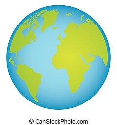 carte, continents, coloré, mondiale, la terre, 3d