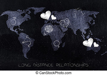 carte, continents, icônes, love-themed, mondiale, travers