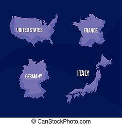 carte, continents, mondiale