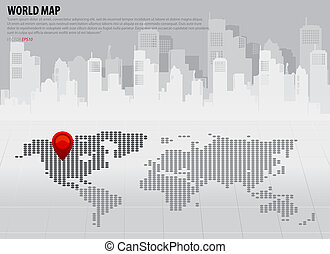 carte, continents, (north, america)., vecteur, mondiale,...