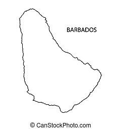 carte, contour, barbade