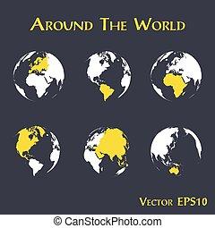 carte, contour, ), (, mondiale, continent, autour de