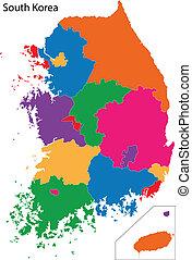 carte, corée, coloré, sud