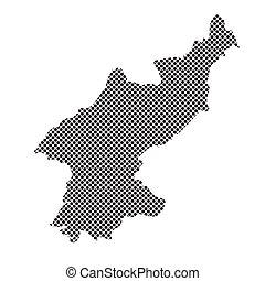 carte, corée, nord