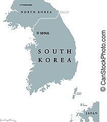 carte, corée, politique, sud