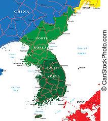 carte, corée, sud nord