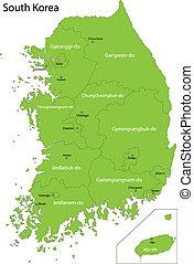 carte, corée, vert, sud