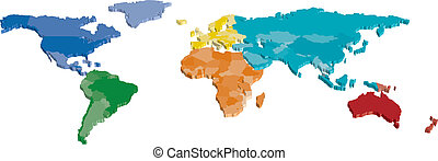 carte couleur, 3d, continent, pays