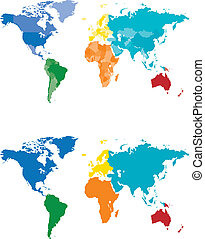 carte couleur, continent, pays