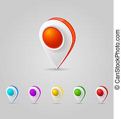 carte couleur, gps, icônes