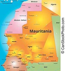 carte couleur, pays, mauritanie