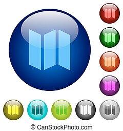 carte couleur, verre, boutons