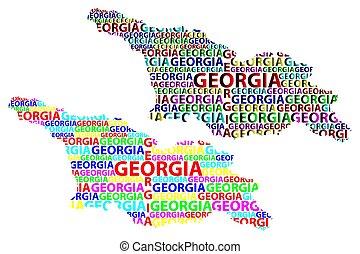 carte, (country), géorgie