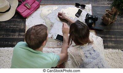 carte, couple, planification, nouveau, voyage, voyage