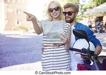 carte, couple, scooter, ville