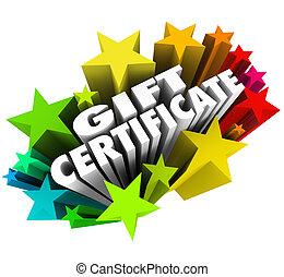 carte, coupon, stocker achats, coloré, certificat, échange, entouré, quand, cadeau, boîte, produits, marchandise, bon, étoiles, services, vous, mots, ou, spécial, illustrer