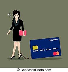 carte, crédit, femme, fardeau, business