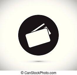 carte, crédit, flotter, icône