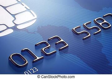 carte, crédit, gros plan, (3d, render)